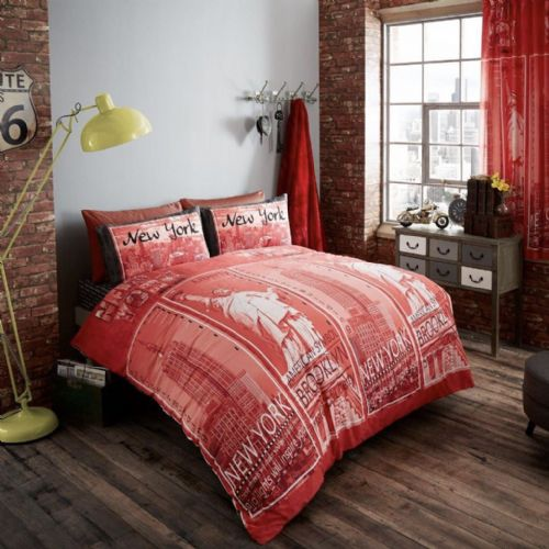 Inspire Modern Printed Complete Duvet Cover Set - Red